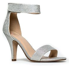 Delicious Rosela Open Toe High Heel Ankle Strap Sandal,Silver Shimmer,7.5