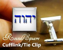 cufflinks, custom tetragrammaton cufflinks & tie clip set