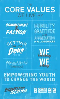 Free The Children Core Values Poster by Evan MacDonald while at Tether, via Behance