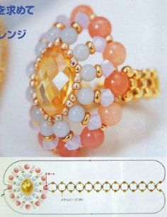 плетение колец из бисера. anillo con perlas y cabu ovalado.