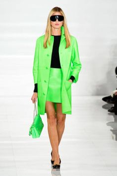 Ralph Lauren S/S 2014 lime neon electric green coat jacket skirt purse bag black shirt long sleeve