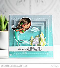 Mermazing Stamp Set and Die-namics, Single Stitch Line Square Frames Die-namics, Stitched Mini Scallop Square Frames Die-namics - Joy Taylor  #mftstamps