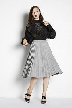 Perfect for Petites | Adela Mei Petite Clothing  Boutique| Hillary Pleat Midi Skirt