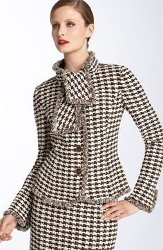 John Collection Tie Neck Houndstooth Jacket available at How To Have Style, My Style, Suit Fashion, Womens Fashion, Trendy Suits, Suits For Women, Clothes For Women, Houndstooth Jacket, Skirt Suit