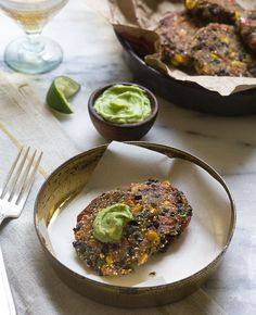 Spicy Black Bean Cakes with Avocado
