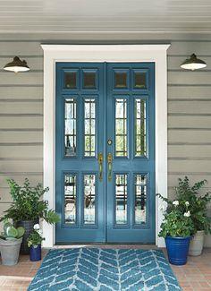 Door color is BEHR Blueprint. BEHR 2019 color of the year - . Door color is Trending Paint Colors, Popular Paint Colors, Paint Colors For Home, Outside House Paint Colors, Paint Colours, Entryway Paint Colors, Paint Colors For Furniture, Outside Wall Paint, Beachy Paint Colors