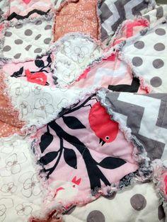 Baby Girl Rag Quilt  Tweetie Pie PINK  Perfect by ModernThreads1