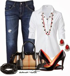 Stylish Outfits | Burberry Bag  STEFFEN SCHRAUT blouse, ADRIANO jeans, Christian Louboutin shoes, Burberry handbag  by amo-iste