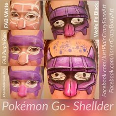 Pokémon Go - Shellder Pokemon face paint face painting design makeup art Step by step tutorial  Artist- Marie Sulcoski