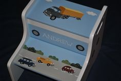 Kids Personalized 2 Step Stool  Cars Trucks Design by onmyown14, $74.95