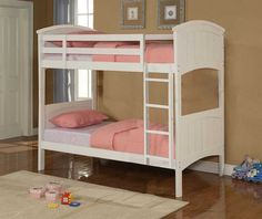 White finish wood twin / Twin bunk bed set with arched top ends and plank style look. Bunk Bed Sets, White Bunk Beds, Wood Bunk Beds, Full Bunk Beds, Kids Bunk Beds, Wooden Beds, Trundle Beds, Large Home Office Furniture, Discount Furniture Stores