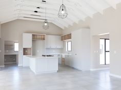 637 on De La Haye - Crontech Consulting Farmhouse Kitchen Interior, Interior Design Kitchen, Rustic Farmhouse, Wood Tile Floors, Wood Floor, White Tiles, White Marble, Black Ovens, Wire Pendant Light