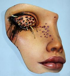 Trypophobia is the pathological fear of irregularly shaped holes. If looking at sponges, beehives, and raw meat makes you squirm, please look away. Colin Christian exploits people's innate di… Ray Caesar, Weird Art, Creepy Art, Organic Matter, Sfx Makeup, Gold Ink, Monster, Magazine Art, Face Art