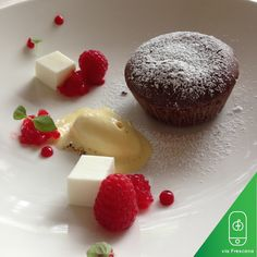 Frescana Daily: Chocolate Fondant with Berries and Vanilla Sorbet. #gourmet#foodie #cook