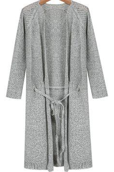 Grey Long Sleeve Drawstring Knit Cardigan