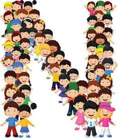 Los niños pequeños forman el alfabeto N Alphabet Letters Design, Alphabet And Numbers, Manners For Kids, Blank Sign, Letters For Kids, School Clipart, Cartoon Kids, Craft Party, Lettering Design