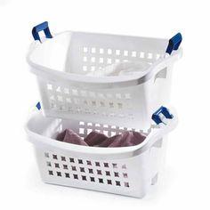 Rubbermaid 1.6 BU Stack-n-Sort Laundry Basket, White $10.62