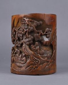 Chinese Carved Bamboo Brush Pot Marked