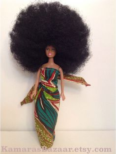 Afro Barbie LUV AFRICA Ankara Faith African Doll by KamarasBazaar on Etsy