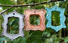 Pretty Cottage Chic Frames Ceramic Ornament Set of 3 by artskrap, $10.00