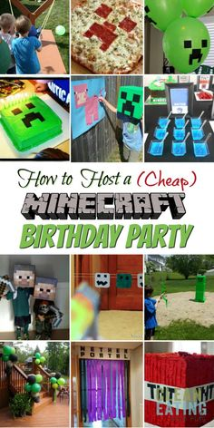 Throwing a Minecraft party? We've got all the Minecraft party ideas you could need! But just because its a birthday party without a big price tag, it doesn't mean you have to compromise on the fun. A Minecraft themed party is a fun and cheap way to make the day special for your little one (or not so little one – We have teens that loved this too!) Diy Minecraft Birthday Party, Minecraft Party Games, Minecraft Party Decorations, Birthday Party Games, 6th Birthday Parties, Birthday Party Decorations, Party Themes, 8th Birthday, Minecraft Houses