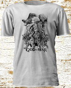God of War Ares Kratos Spartan Helmet Tattoo Playstation Silhouettes Tshirt S3XL #Gildan #BasicTee