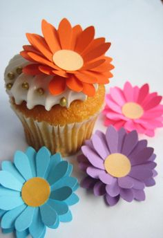 Bright Mixed Flower Cupcake Toppers by Flutters on Etsy, $14.00