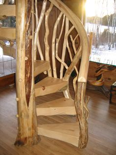 Charming Rustic Interior Design with Pine Spiral Staircase Ideas - Master Home Decor