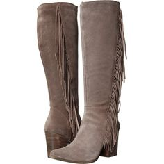 Steve Madden Cacos (Taupe Suede) Women's Zip Boots ($85) ❤ liked on Polyvore featuring shoes, boots, knee-high boots, taupe, faux-fur boots, knee high fringe boots, suede fringe boots, suede boots and taupe knee high boots