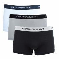 Emporio Armani Underwear   - Paquet de 3 caleçons élastifiés - Composition: 95% coton 5% el - Logo coloré contrasté - Couleur: blanc, gris, noir - Laver à 30° C - Ne pas blanchir