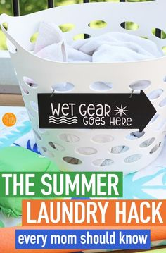 Handle summer laundry like a pro with this super simple organizing hack! Includes a free printable Cricut file to make your own sign. This is a genius idea for dealing with wet towels, bathing suits, and other wet gear during summer break. You might need more than one! Calendar Organization, Organisation Hacks, Organizing, Room Organization, Small Chalkboard Signs, Make Your Own Sign, Kids Schedule, Every Mom Needs, Cleaning Hacks
