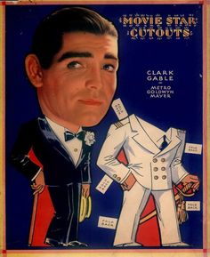 Old Hollywood paper dolls: Clark Gable #recortable #scissorwork #papertoy- Carefully selected by GORGONIA www.gorgonia.it