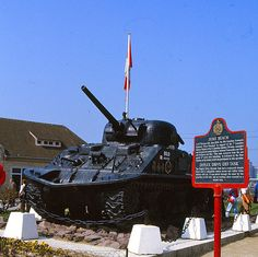 Juno Beach - 6 june 1944  Normandie - FRANCE. Where Canada, the Canadians landed on D Day. Canadian tank.