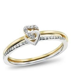 10K Yellow Gold and Sterling Silver Diamond Accent Promise Ring