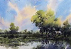Direk Kingnok Watercolor artist Evening Light 35 x 50 cm.