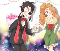 May I take you to the dance? | by Y @ Pixiv.net // max and roxanne; goof troop; a goofy movie