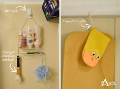 Bathroom Cleaning + Organizing Tips: Use 3M hooks to keep your caddy away from the shower head, dishsoap/vinegar mixture in a scrub brush to clean the tub and laundry hooks on a curtain rod to hang things to dry.