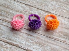 Little Girls Lotus Ring Set, Recital Jewelry, Flower Girl Rings, Gifts For Her, Baby Girl Gift, Jr. Bridesmaid Gift by JewelsbyRosies on Etsy