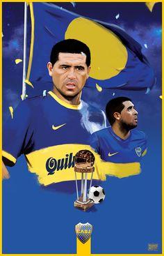Ilustration of Juan Román Riquelme Solo Boca Magazine from Argentina. Football Stickers, Football Cards, Football Soccer, Football Players, Everton, Creative Art, Roman, My Design, Sports