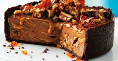 For a dessert that's oozing with chocolatey goodness you can't go past this decadent Snickers cheesecake.