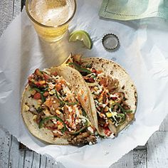 Mai-Tacos — Cooking Light Recipe The recipe title here is a playful pun, taking its cues from the pronunciation of the star ingredient. Mushrooms and chiles play surprisingly well together, and this peppy concoction highlights the maitake's robust, roast chicken–like flavor.