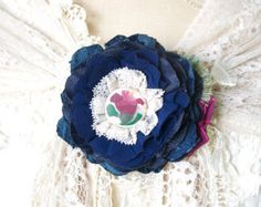 Custom Order for Meg: Blue Fabric Flower Brooch Custom Flower