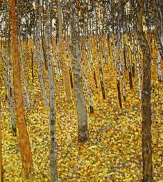 Replica of Klimt.  I like the harmony between the yellows and the greys of the birch trees.