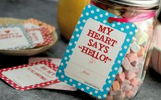 Free valentine's day downloadable tags...I just like the idea of all the candy hearts in a jar for gift.