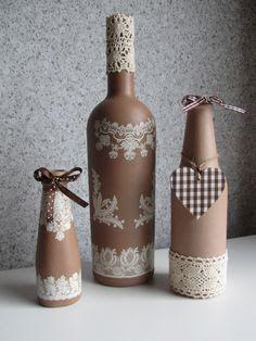 Resultado de imagem para how to fabric decoupage wine bottle