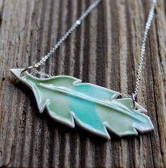 Aqua feather ceramic necklace by tashamck $35