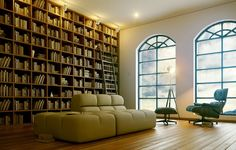 Interior, Amazing and Cozy For Reading Spaces: Sophisticated And High Wooden Shelf As The Wall For Bright Room