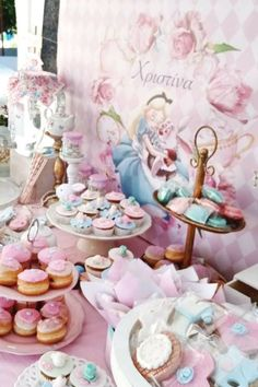 Take a look at this magical Alice in Wonderland baptism! The dessert table is amazing! See more party ideas and share yours at CatchMyParty.com    #catchmyparty #partyideas #aliceinwonderland #aliceinwonderlandparty #baptism #teaparty Baptism Dessert Table, Baptism Desserts, Tea Party Desserts, Dessert Table Birthday, Dessert Table Backdrop, Tea Party Birthday, Party Cakes, Dessert Tables, Birthday Ideas