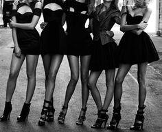 Bachelorette party...bridesmaids wore black...the bride wore white.