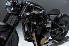 About Turn: Eastern Spirit Garage builds an bobber Xs650 Bobber, Moto Scrambler, Yamaha Virago, Bobber Bikes, Old Motorcycles, Russian Motorcycle, Porsche 911 Gt2, Power Cars, Bike Design